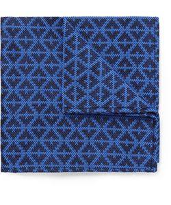 Marwood | Patterned Woven Wool And Silk-Blend Pocket Square Blue