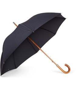 LONDON UNDERCOVER | City Lux Malacca Wood-Handle Umbrella Blue