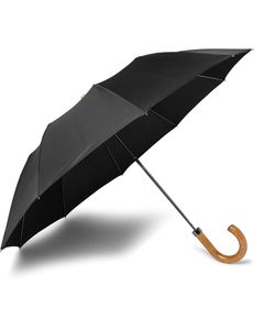 LONDON UNDERCOVER | Maple-Handle Collapsible Umbrella Black