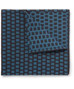 Marwood | Cotton-Jacquard Pocket Square Blue