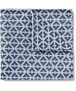 Marwood | Diamond-Patterned Silk And Cotton-Blend Pocket Square Blue