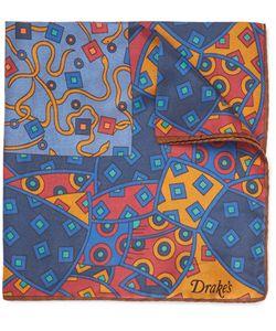 Drake's | Printed Silk Pocket Square Blue