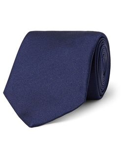 Turnbull & Asser | Ribbed Silk Tie Blue