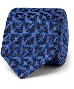 Marwood | Knitted Wool And Silk-Blend Tie Blue