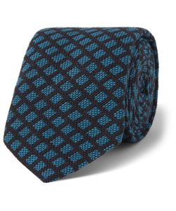 Marwood | Patterned Woven Cotton Tie Blue