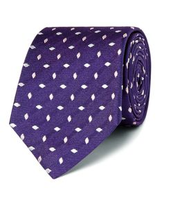 Turnbull & Asser | Embroidered Silk-Faille Tie Purple