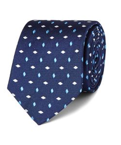 Turnbull & Asser | Embroidered Silk-Faille Tie Blue