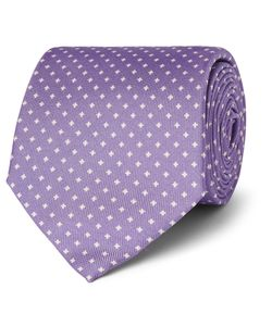 Emma Willis | Printed Silk-Twill Tie Purple