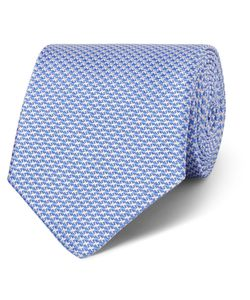 GIEVES & HAWKES | Houndstooth Silk-Jacquard Tie Blue
