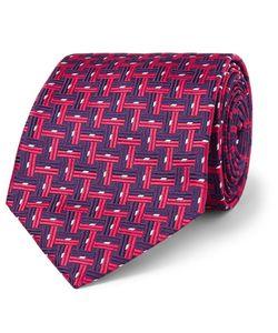 Sulka | Basketweave-Effect Silk-Jacquard Tie Pink