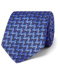 Sulka | Basketweave-Effect Silk-Jacquard Tie Blue