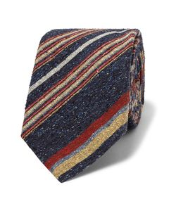 Turnbull & Asser | Striped Slub Silk Tie Blue