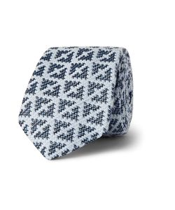 Marwood | Diamond-Patterned Silk And Cotton-Blend Tie Blue