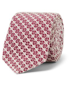 Marwood | Cotton Lace-Covered Silk Tie Burgundy