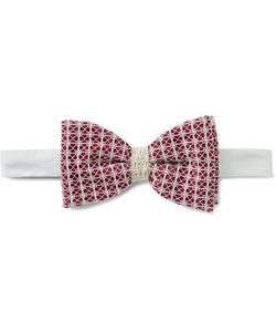 Marwood | Pre-Tied Cotton Lace-Covered Silk Bow Tie Burgundy