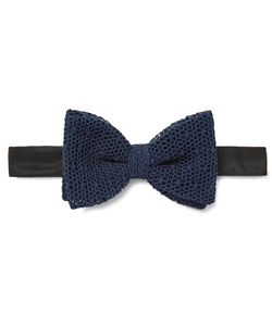 Marwood | Pre-Tied Cotton-Mesh Bow Tie Blue