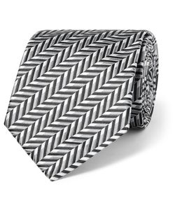 Sulka | Herringbone Silk-Jacquard Tie Gray