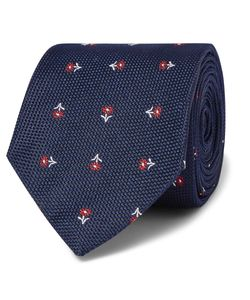 Turnbull & Asser | Floral Silk-Jacquard Tie Blue