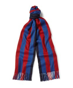 Begg & Co | Ripley Striped Wool And Cashmere-Blend Scarf Blue