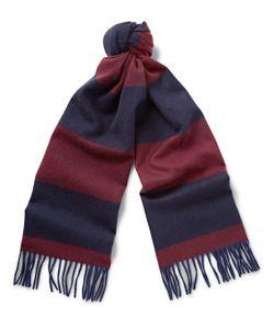 Begg & Co | Derwatt Striped Wool And Cashmere-Blend Scarf Blue