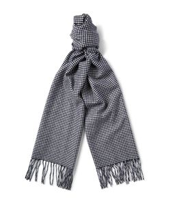 Begg & Co | Moussa Houndstooth Arran Cashmere Scarf Blue