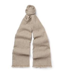 Begg & Co | Kos Washed Cashmere And Linen-Blend Scarf Neutrals