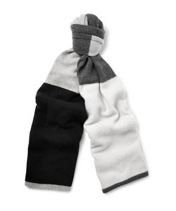 The Elder Statesman | Colour-Block Wool And Cashmere-Blend Scarf Gray