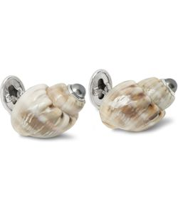 Trianon | 18-Karat White Gold Shell And Pearl Cufflinks Gray