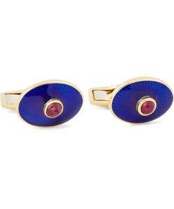 Deakin & Francis | 18-Karat Gold Enamelled Cufflinks Blue