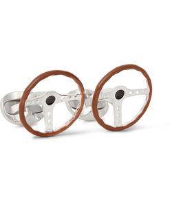 Deakin & Francis | Steering Wheel Enamelled Sterling Silver Cufflinks Brown