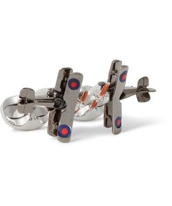 Deakin & Francis | Biplane Enamelled Gunmetal-Tone Sterling Silver Cufflinks Silver