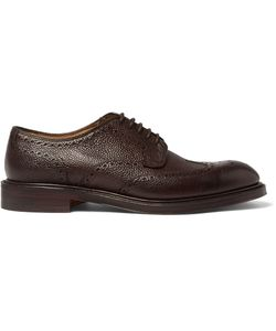 CHEANEY | Bexhill Pebble-Grain Leather Brogues Brown