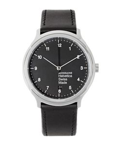 Mondaine | Helvetica No1 Stainless Steel And Leather Watch Black