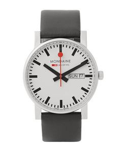 Mondaine | Evo Day-Date Stainless Steel And Leather Watch Black