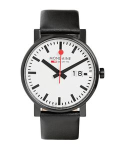 Mondaine | Evo Big Steel And Leather Watch Black