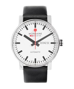 Mondaine | Evo Big Day-Date Stainless Steel And Leather Watch Black