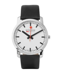 Mondaine | Simply Elegant Stainless Steel And Leather Watch Black