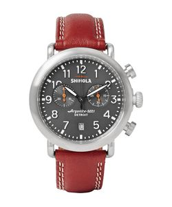 SHINOLA | The Runwell 41mm Stainless Steel And Leather Chronograph Watch Brown