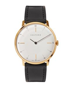 Sekford | Type 1a Gold-Tone And Cordovan Leather Watch Black