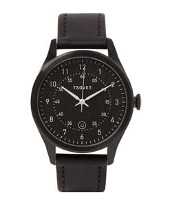 Tsovet | Svt-Rm40 Stainless Steel And Leather Watch Black