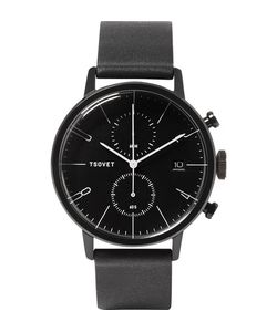 Tsovet | Jpt-Cc38 Stainless Steel And Leather Watch Black