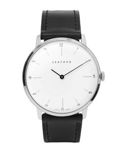 Sekford | Type 1a Stainless Steel And Leather Watch Black