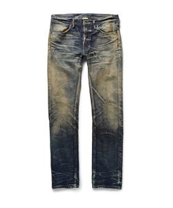 Fabric-Brand & Co | Beta Slim-Fit Washed Selvedge Denim Jeans Blue