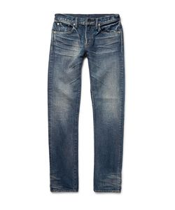 The Workers Club | Slim-Fit Washed Selvedge Denim Jeans Blue