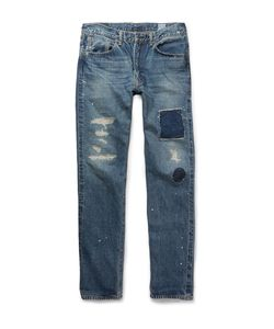 Orslow | Beams Ivy 107 Straight-Leg Distressed Denim Jeans Blue
