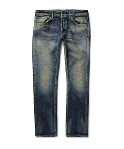 Fabric-Brand & Co | Iron Slim-Fit Distressed Washed Selvedge Denim Jeans Blue