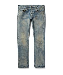 Fabric-Brand & Co | Razor Slim-Fit Distressed Washed Selvedge Denim Jeans Blue