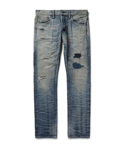 Fabric-Brand & Co | Samue Slim-Fit Distressed Washed Selvedge Denim Jeans Blue