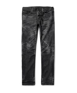 Fabric-Brand & Co | Razor Slim-Fit Distressed Washed Selvedge Denim Jeans Black