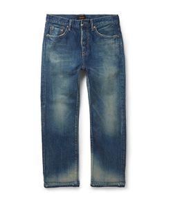CHIMALA | Slim-Fit Cropped Selvedge Denim Jeans Blue